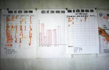 Source - © 1999 Edson E. Whitney, Courtesy of Photoshare. Description - Wall charts used to track clinic data at a communal health center in Vietnam.