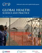 Source - Global Health: Science and Practice Vol. 4, No. 3 September 28, 2016. Description - Cover page.