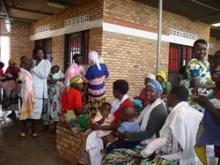Source - FHI 360. Women living with HIV waiting in line at a family planning clinic.